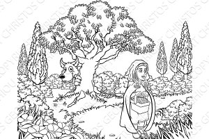 Little Red Riding Hood Fairy Tale Coloring Scene