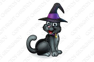 Black Witches Cat Cartoon Character in Hat