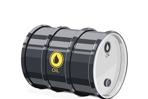 Black metal barrel for oil.