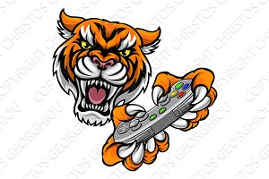 Tiger Gamer Player Mascot