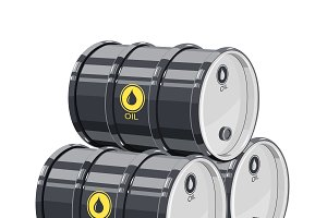 Three Black metal barrel for oil.