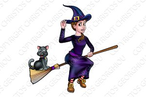 Witch and Cat Flying On Broomstick