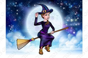 Halloween Witch Flying on Broomstick Background