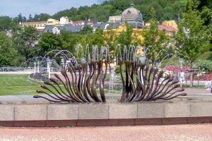 Singing fountain and colonnade - small west Bohemian spa town Marianske Lazne (Marienbad) - Czech Republic