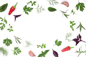 Frame of fresh spices and herbs isolated on white background with copy space for your text. Dill parsley basil. Top view