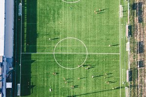 Aerial view of real soccer pitch