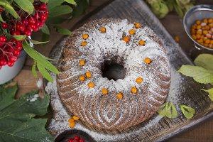 autumn cake with powdered sugar