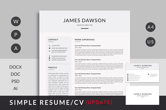 clean resume stationery templates creative market