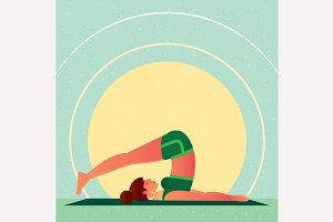 Girl lies in Yoga Plow Pose or Halasana