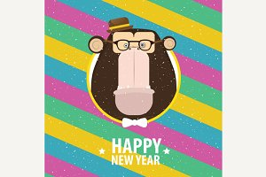 Happy New Year with monkey in varicolored frame