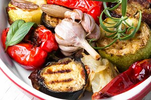 Grilled vegetables in dish