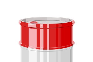 Red metal barrel.