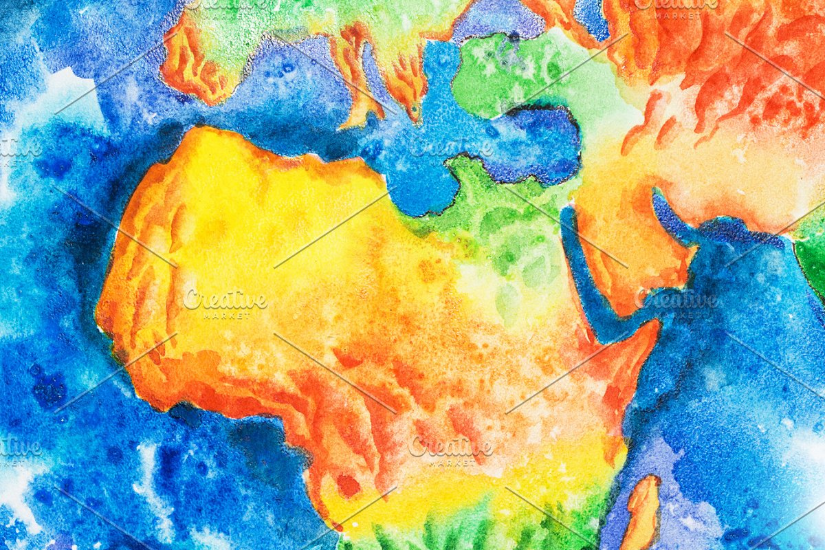 Map Of Africa From Space.Map Aquarelle Drawing Of Africa Relief Map View To Earth From Space