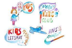 Hand-drawn watercolor logo set for kids club. Collection of promotional symbols for playground and entertaining center for children