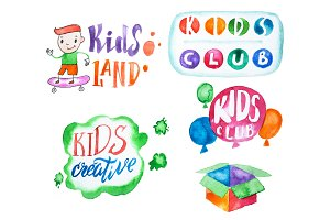 Bright colorful collection of illustrations and letterings for kids club isolated on white background