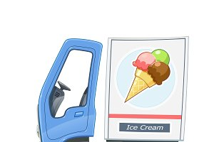Truck for delivery ice cream