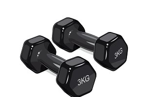 Black dumbbells for fitness.