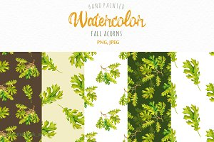 Watercolor Fall acorns collection