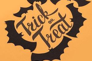 Logo of Halloween and black bats painted on orange background