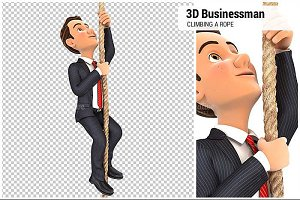 3D Businessman Climbing a Rope