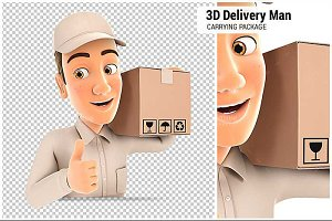 3D Delivery Man Carrying Package