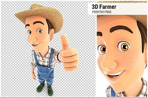 3D Farmer Positive Pose
