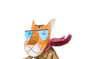 Watercolor drawing of cartoon tiger wearing trendy hipster clothes riding a motorbike isolated on white background