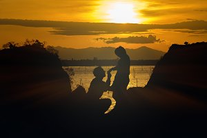 Silhouette of happy lover