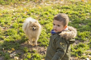 Cute boy with a dog
