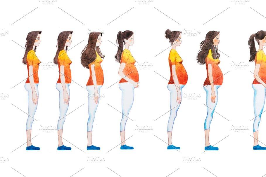 cartoon illustration of pregnanc