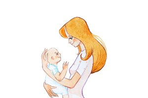Hand-drawn watercolor illustration of pretty young mother holding newborn smiling and looking kindly at him