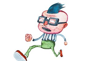 Stylish middle-aged cartoon man in square glasses with big head and cowlick hairstyle running away from someone