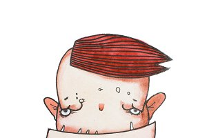 Gloomy cartoon monster boy with square jaw and sharp teeth waiting for his meal holding a spoon. Comic book character hand-drawn with watercolors