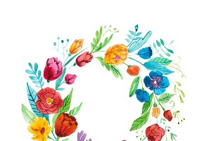 Aquarelle drawing of bright rustic coronet of garden flowers hand-drawn