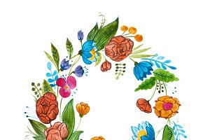 Aquarelle floral composition for card design or decoration element. Isolated hand drawn watercolor wreath composed of bright flowers and leaves