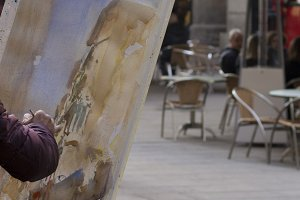 Painter drawing a picture