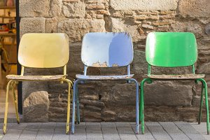 Colorful old wooden chairs
