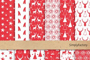 Red Christmas Digital Paper Elements