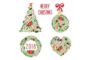 Cute vintage hand drawn rustic floral Christmas symbols