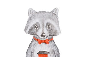 Cute grey raccoon wearing red bow tie holding a takeaway cup of coffee with both hands hand-drawn