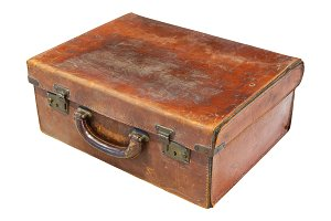 Old leathered suitcase or chest