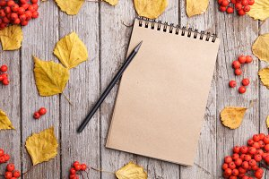 Notebook on autumn background