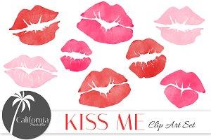Watercolor Kiss Clip Art