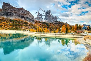 Fedaia lake in Dolomites, Italy