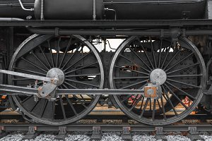 Wheels of an old locomotive