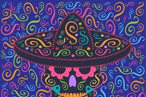 Mexican ornament skull icon