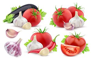 Different vegetables isolated on white background. Collection