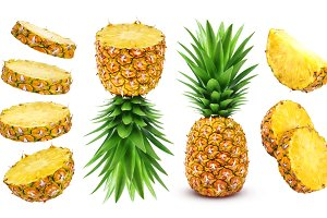 Whole and sliced pineapple isolated on white