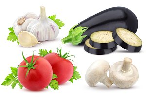 Fresh vegetables isolated. Eggplant, tomato and garlic isolated on white background