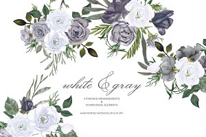 Watercolor White Grey Roses Clip Art
